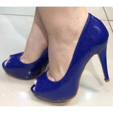 - Sandália Peep Toe Meia Pata Azul Royal Bic Verniz Salto Alto