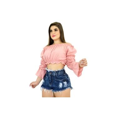 Short Bermuda Jeans Feminino Cintura Alta Hot Pant Destroyed Tendencia 2021 Com Ziper Fecho