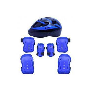 Kit de proteção radical com capacete tam. M azul - Bel Sports