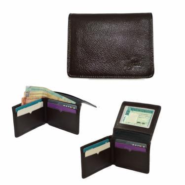 Carteira Slim Masculina Couro Legítimo Porta Cartão CNH Preto nz047