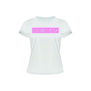 Camiseta Baby Look Malha 100% Algodão Estampa Outubro Rosa