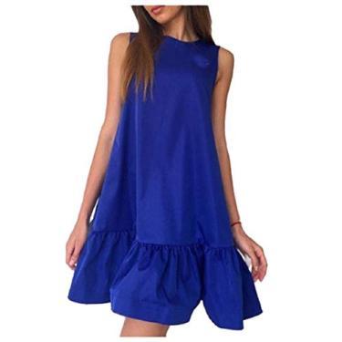 Zimaes vestido curto feminino casual sem mangas liso, Azul, XX-Large