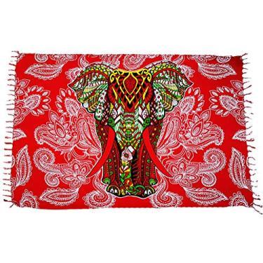 Canga De Praia Indiana Elefante Várias Modelos e Cores Confira (Vermelho)
