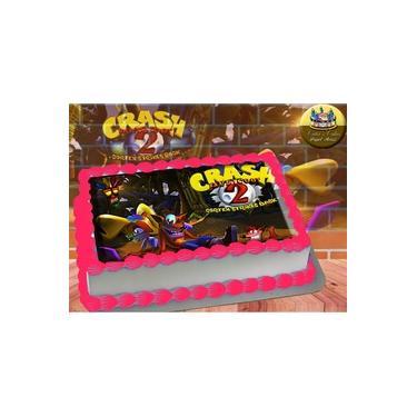 PS4 XBOX GAME - Papel De Arroz Comestível Para Bolo Crash Bandicoot II A4 20x30cm Mod.02