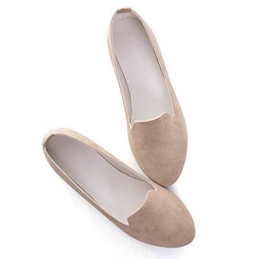 Sapatilhas femininas de balé macias com bico fino da Bolomee, sapatilhas casuais e confortáveis, elegantes para casamentos, Caqui, 7.5