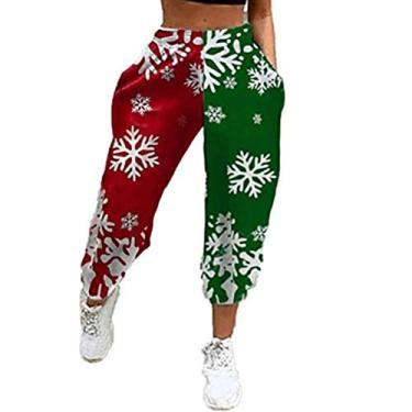 Calça de moletom feminina Merry Christmas com cordão para correr, ioga, lounge, xadrez, boneco de neve, corrida, fitness, C-15, Large