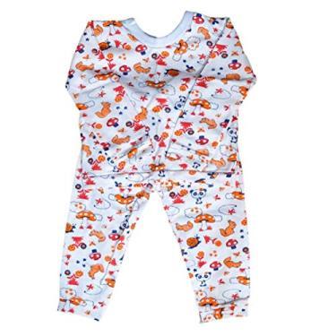 Pijama Infantil Unissex Tamanho:P - 9 a 12 meses;Cor:Bege - Panda