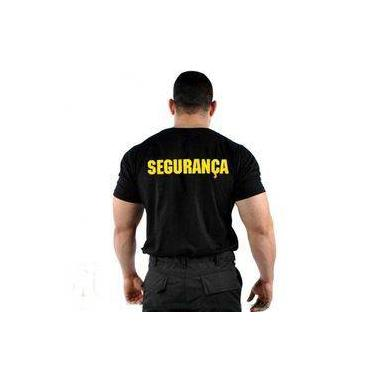 Camiseta Camisa Segurança Preta Escrito Em Amarelo