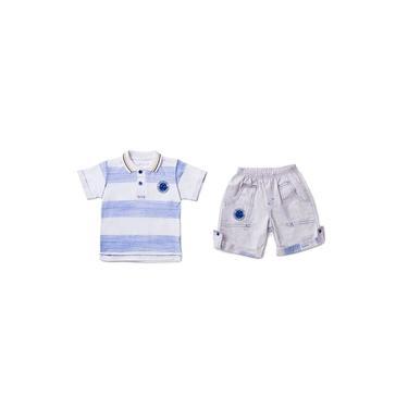 Conjunto Revedor Cruzeiro Polo E Short Menino Branco E Azul