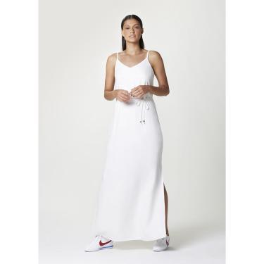 Vestido Básico Longo Com Forro E Fendas Laterais
