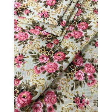 Tecido para decoração Gorgurinho floral vintage bege e rosa - Tmdecor