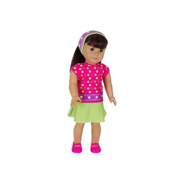 Roupa para Boneca - Kit Saia e Blusa – Veste Bonecas tipo American Girl e Our Generation - Laço de Fita