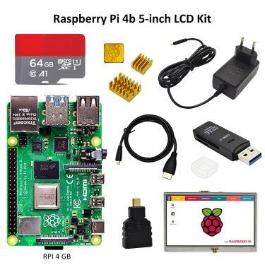 Raspberry pi 4 kit com display pi 4b 2gb/4gb: placa + dissipador de calor + adaptador de energia +