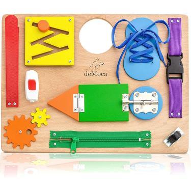 Imagem de Montessori Busy Board for Toddlers - Brinquedos Sensoriais de Madeira - Atividades infantis para brinquedos de viagem de habilidades motoras finas - Brinquedos educacionais para meninos e meninas de 3 anos