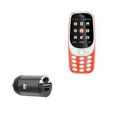 Carregador de carro Nokia 3310 (2017), BoxWave [Mini carregador de carro Dual PD] Rápido, 2 carregadores USB para Nokia 3310 (2017) - Preto