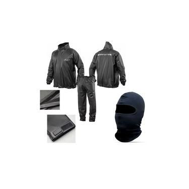 Combo Capa Roupa Chuva Vestimenta Vestuário Jaqueta Calça Delta Flex Pvc Preta Moto Motoqueiro + Capuz Ninja Balaclava