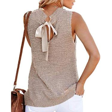 Túnica feminina de verão, sem mangas, blusa, blusa, regata, fecho nas costas, casual, de crochê, Caqui, S