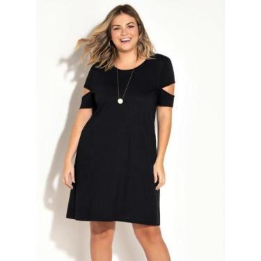 Vestido Plus Size Preto com Recortes Vazados - Marguerite