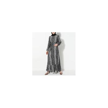 Zanzea Mulheres Muçulmanas de Mangas Compridas Cobra Impresso Moda Vestidos Compridos Elegantes com Cinto Vestido Solto Cinzento 3XL