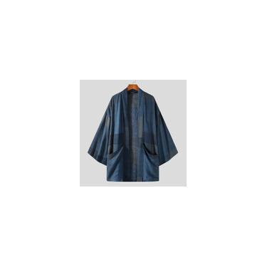 Incerun Tradicional Masculino Kimono Japonês Cardigan Casaco Plus Size Malha Harajuku Outwear Casaco Roupão Azul M