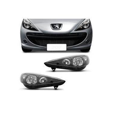 Farol Peugeot 207 2007 2008 2009 2010 2011 2012 2013 2014 2015 Máscara Negra Foco Duplo