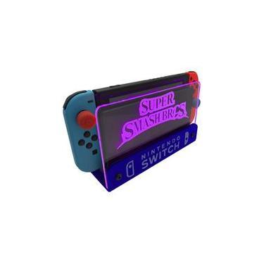 Suporte Bancada/Parede Nintendo Switch Iluminado - Smash Bros - Base Azul LED Rosa
