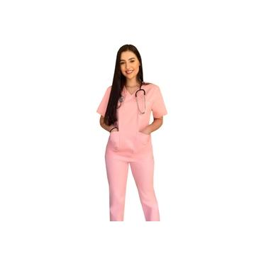 Conjunto Pijama Cirúrgico Rosa Unissex Brim