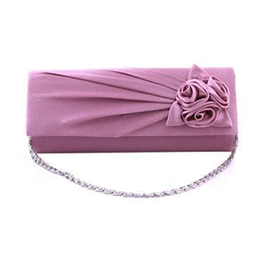 Mini bolsa feminina decorada com rosas da moda (violeta)