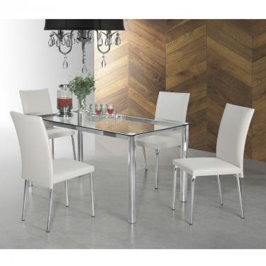 Imagem de Conjunto Sala de Jantar Mesa Tampo de Vidro 4 Cadeiras Viana Espresso Móveis Bege claro