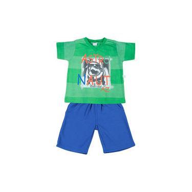 Conjunto Infantil Malha Rapport Spot e Moletinho Astronaut Az - Verde