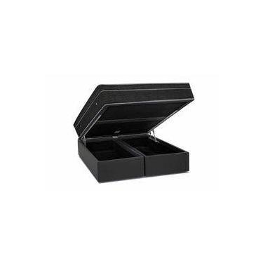 ae440703b3 Conjunto Box- Colchão Ortobom Nanolastic Light Selado+Cama Box Baú Courino  Nero Black-