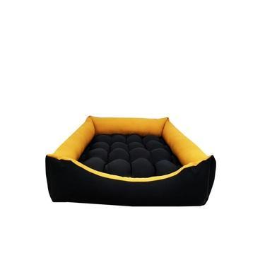 Caminha para cachorros de grande porta 90x90x18cm preta com as bordas mostarda