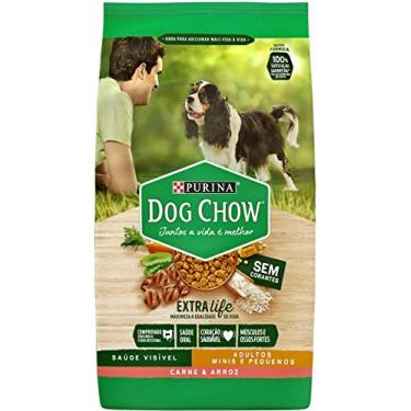 Nestlé Purina Dog Chow Ração Seca para Cães Adultos Raças Pequenas Carne e Arroz 3kg Dog Chow Para Akita Pequeno Adulto, Sabor Carne Pequeno