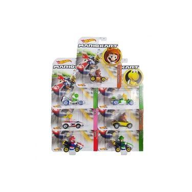 Kit com 7 Carrinhos Mario Kart Hot Wheels Gbg25