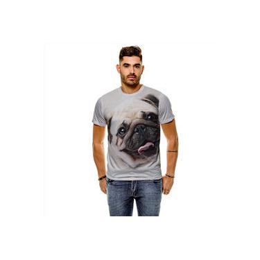 Camiseta Cachorro Pug Bege Masculina Slim