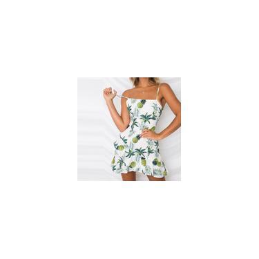 Vestido feminino sexy com estampa de frutas para mulheres, minivestido pequeno e fresco