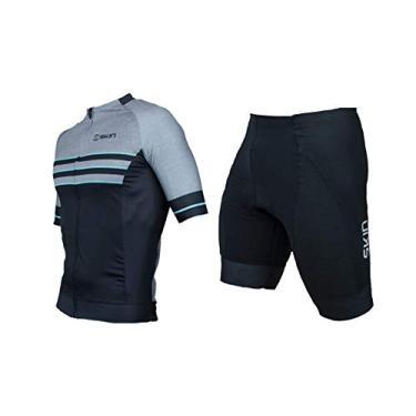 Conjunto Ciclismo Bike Oggi Skin Woom Camisa Manga Curta Bermuda Shorts Forro Endurance Pro (Cinza Preto Skin, GG)