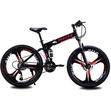 Imagem de PLAYH Bicicletas de montanha dobráveis para adultos, bicicletas de freio a disco de absorção de choque duplo de aço de alto carbono, bicicleta elétrica de velocidade de luz variável (cor: A)