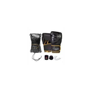 Imagem de Kit Boxe Muay Thai Naja Black Line Luva Dourada + Bandagem + Protetor Bucal