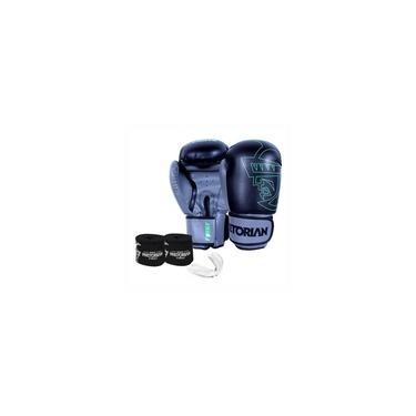 Imagem de Kit Boxe Muay Thai Pretorian First Luva 12 OZ Preta e Cinza + Bandagem + Protetor Bucal