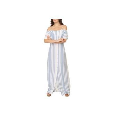 Vestido Longo Listras Com Botões Branco C/ Azul