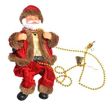 KESYOO Natal Trepando Papai Noel Na Corrente de Contas Brinquedo Elétrico Do Papai Noel Alimentado por Bateria Enfeite de Natal (Sem Bateria)