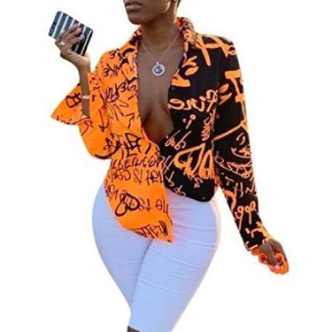 Camiseta feminina CRYYU com estampa de grafite, manga comprida, botões e letras, Laranja, Large