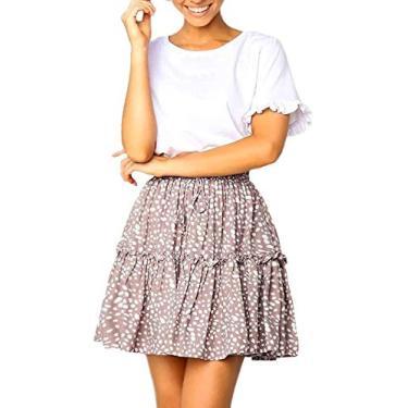 WonderBabe Saia feminina de bolinhas de cintura alta com babados bohemian fofa trompete plissada minissaia de skate Damasco-L