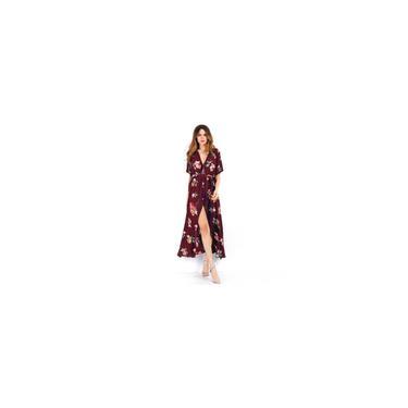 Floral Imprimir Mulheres Vestido com decote em V Splited Beach Dress manga curta vestido longo