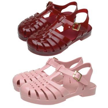 Kit 2 Sandálias Femininas Fivela Bico Quadrado Conforto Rosa-Vermelho 40