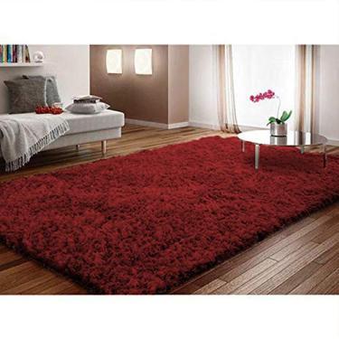 Tapete para Sala/Quarto Fourrure 2,00mx1,40m Cores Variadas Casen Cor:Vermelho