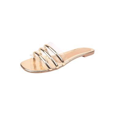 Imagem de Sandália Rasteira Feminina Tati Ana Calçados Transparente Cristal Detalhe Tiras  Confortável Dourado  feminino