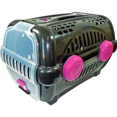 Caixa de Transporte Furacão Pet Luxo Preto com Rosa - Tam. 01