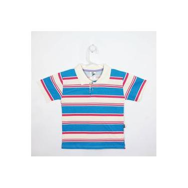 Camiseta Infantil Masculina Manga Curta Creme, Azul Turquesa E Pink